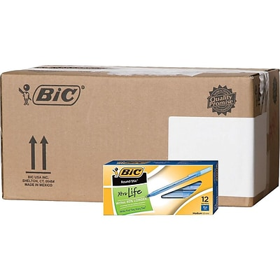 BIC Round Stic Xtra Life Ballpoint Pens, Medium Point, Blue Ink, 432/Carton (GSM11BLUCT)