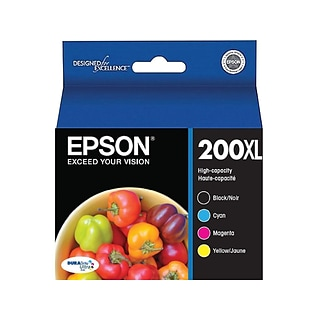 Epson 200XL Black/Cyan/Magenta/Yellow High Yield Ink Cartridge, 4/Pack