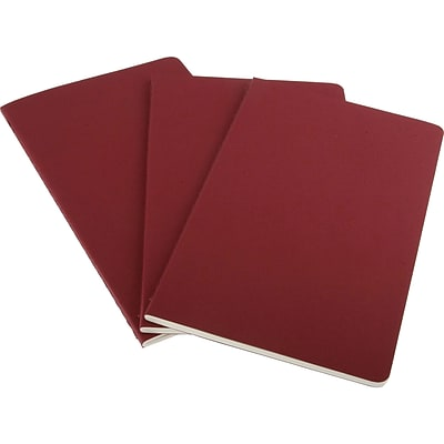 Moleskine Cahier Cardboard Journal, 5W x 8.25H, Cranberry Red, 3/Pack (931014)