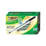 BIC Round Stic Ecolutions Ballpoint Pens, Medium Point, Black Ink, 50/Pack (GSME509-BLK)