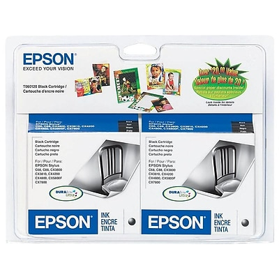 Epson 60 Black Ink Cartridges, Standard Yield, 2/Pack (T060120-D2)