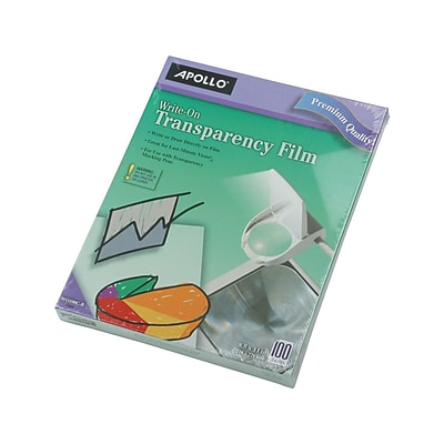 Apollo Write-On Uncoated Transparency Film, 8.5 x 11, 100/Box (W0100C-B)