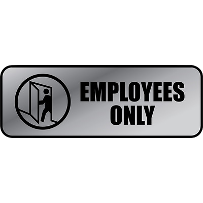 Cosco Employees Only Indoor Wall Sign, 9.2L x 3.5H, Gray/Black (098206)