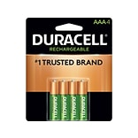Duracell Rechargeable AAA NiMH Batteries, 4/Pack (DX2400B4N001)