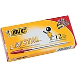 BIC Cristal Ballpoint Pens, Medium Point, Red Ink, Dozen (10128/MS11RD)