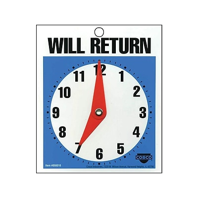Cosco® Open/Come In and Will Return with a Clock Indoor/Outdoor Door Sign, 5.25L x 6H, Multi Colors (098013)