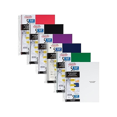 Five Star 5-Subject Notebook, 8.5 x 11, College Ruled, 200 Sheets, Assorted Colors (06112/06208)
