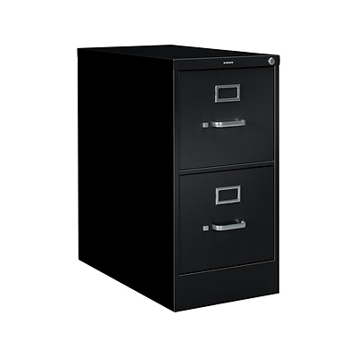 HON S380 2-Drawer Vertical File Cabinet, Locking, Letter, Black, 26.5D (HS382PP)
