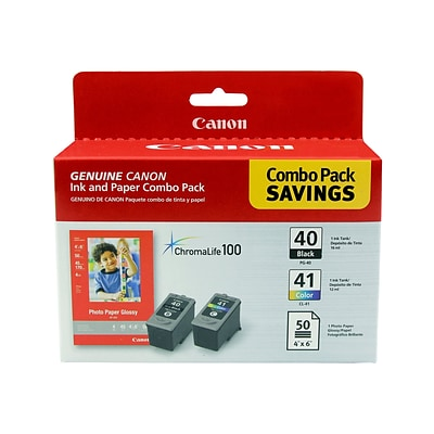 Canon PG-40/CL-41 Combo Black/Color Ink Cartridges, Photo Paper Value Pack (0615B009)