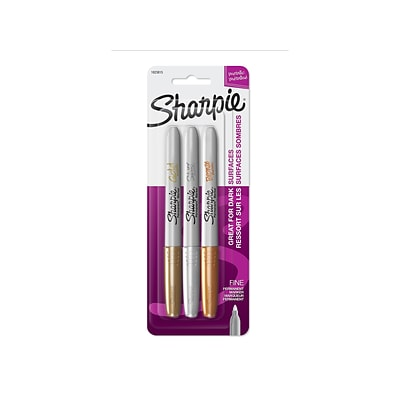 Sharpie Metallic Permanent Markers, Fine Point, Assorted, 3/Pack (1823815)