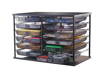 Rubbermaid Wire Mesh 12 Compartment File Organizer, Black (1735746)