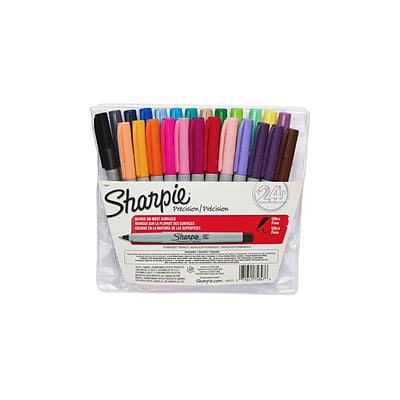 Sharpie Permanent Markers, Ultra Fine Point, Assorted, 24/Pack (75847)