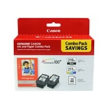 Canon PG-210 XL/CL-211 XL Combo Black/Color Ink Cartridges, High Yield, Photo Paper Value Pack (2973