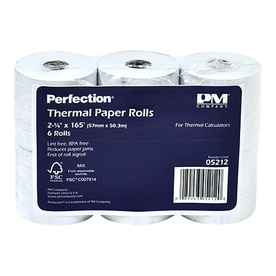 PM Company Thermal Cash Register/POS Rolls, 2 1/4 x 165, 6/Pack (05212)
