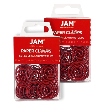 JAM Paper® Colored Circular Paper Clips, Round Paperclips, Red, 2 Packs of 50 (2187138B)