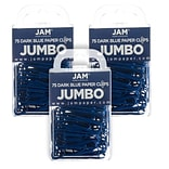JAM Paper® Colored Jumbo Paper Clips, Large 2 Inch, Dark Blue Paperclips, 3 Packs of 75 (42186869B)
