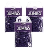 JAM Paper® Colored Jumbo Paper Clips, Large 2 Inch, Purple Paperclips, 3 Packs of 75 (42186879B)