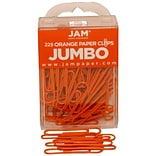 JAM Paper® Colored Jumbo Paper Clips, Large 2 Inch, Orange Paperclips, 3 Packs of 75 (42186871B)