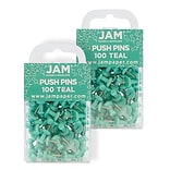 JAM Paper® Colored Pushpins, Teal Push Pins, 2 Packs of 100 (22432067A)