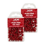 JAM Paper® Colored Pushpins, Red Push Pins, 2 Packs of 100 (2242955A)