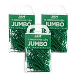 JAM Paper® Colored Jumbo Paper Clips, Large 2 Inch, Green Paperclips, 3 Packs of 75 (42186878B)