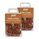 JAM Paper® Colored Circular Paper Clips, Round Paperclips, Rose Gold, 2 Packs of 50 (21832061B)