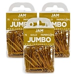 JAM Paper® Colored Jumbo Paper Clips, Large 2 Inch, Gold Paperclips, 3 Packs of 75 (21832060B)