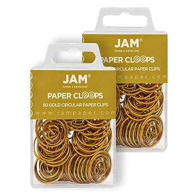 JAM Paper® Colored Circular Paper Clips, Round Paperclips, Gold, 2 Packs of 50 (21832062B)