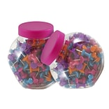 JAM Paper® Colored Pushpins, Assorted Colors Push Pins, 2 Jars of 150 (22433543a)