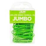 JAM Paper® Colored Jumbo Paper Clips, Large 2 Inch, Lime Green Paperclips, 3 Packs of 75 (21830627B)