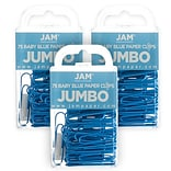 JAM Paper® Colored Jumbo Paper Clips, Large 2 Inch, Baby Blue Paperclips, 3 Packs of 75 (221819034B)