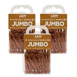 JAM Paper® Colored Jumbo Paper Clips, Large 2 Inch, Rose Gold Paperclips, 3 Packs of 75 (21832059B)