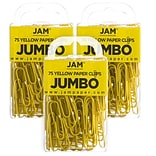 JAM Paper® Colored Jumbo Paper Clips, Large 2 Inch, Yellow Paperclips, 3 Packs of 75 (42182236B)