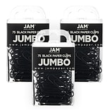 JAM Paper® Colored Jumbo Paper Clips, Large 2 Inch, Black Paperclips, 3 Packs of 75 (2184933B)