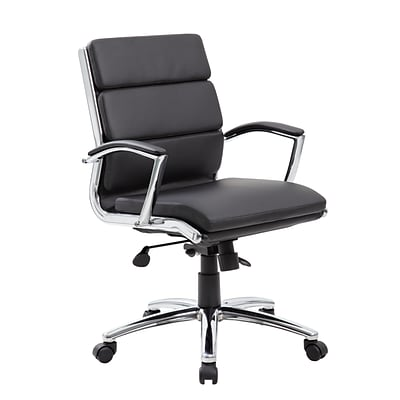 BOSS® Caresoft Plus Executive Series High Back Executive Chair with Metal Chrome Finish; Black