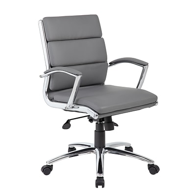 BOSS® Caresoft Plus Executive Series Mid Back Executive Chair with Metal Chrome Finish; Grey