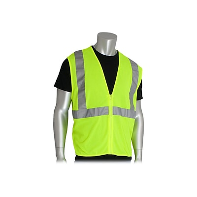 PIP Zipper Safety Vest, ANSI Type R Class 2, Large, Hi-Vis Lime Yellow (302-MVGZ-LY/L)