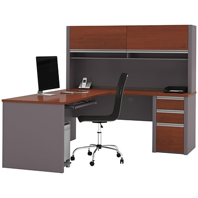 bestar Connexion 71 L-Shaped Desk, Bordeaux/Slate (93859-39)