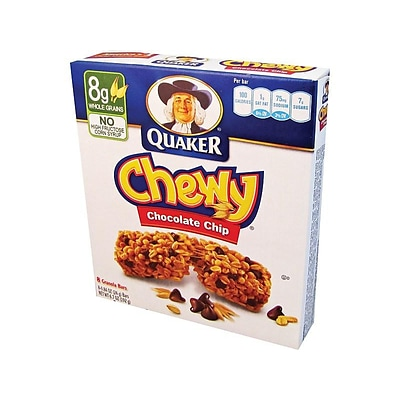 Quaker Chewy Bars, Chocolate Chip, 0.84 Oz., 8/Box (31182)