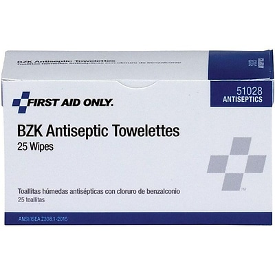 First Aid Only BZK 0.133% Benzalkonium Chloride Antiseptic Wipes, 25/Box (51028)