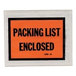 Staples Packing List Envelopes, 4.5 x 5.5, Orange Full Face, Packing List Enclosed, 500/Carton (53