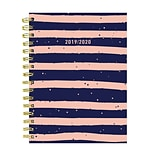 July 2019 - June 2020 TF Publishing 6.5 x 8 Medium Daily Weekly Monthly Planner, Navy & Pink Strip