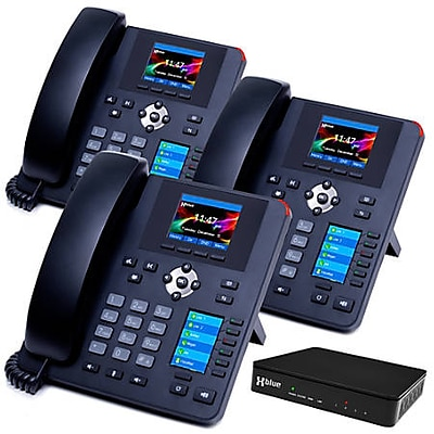XBLUE QB Advanced QB1003 IP Phone System Bundle, Black, 3 Phone Bundle
