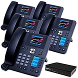 XBLUE QB Advanced QB1005 IP Phone System Bundle, Black, 5 Phone Bundle