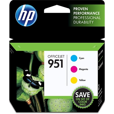 HP 951 Cyan, Magenta & Yellow Original Ink Cartridges, 3 Pack (CR314FN)