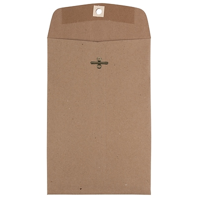 JAM Paper® 6 x 9 Open End Catalog Envelopes with Clasp Closure, Brown Kraft Paper Bag, 10/Pack (563120844D)
