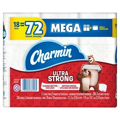 Charmin Ultra Strong Mega 2-Ply Standard Toilet Paper, White, 286 Sheets, 18 Rolls/Pack (99806)