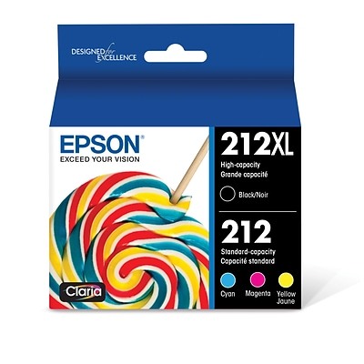 Epson T212XL Black/Cyan/Magenta/Yellow Ink Cartridge Combo Pack, High Yield, 4/Pack (T212XL-BCS)