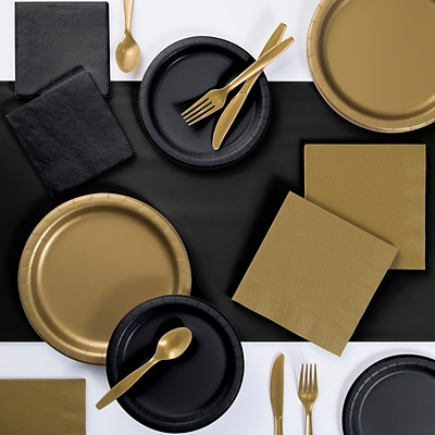 Creative Converting Touch of Color Tableware Party Kits, Black and Gold 221 Piece (DTCBKGLD2A)