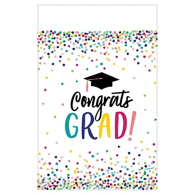Amscan Yay Grad Graduation Tablecover, Plastic, 54 in. x 102 in., 3 Pack (572290)